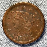 1851 BRAIDED HAIR LARGE CENT ATTRACTIVE WITH  DETAILS - CLEANED