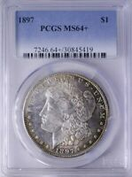 1897 MORGAN DOLLAR PCGS MINT STATE 64 PRETTY TONING