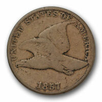 1857 FLYING EAGLE CENT  GOOD VG US COIN SNOW 9 DIE CLASH 10535