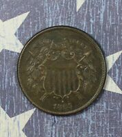 1865 2 CENT PIECE  FANCY 5 COLLECTOR COIN FOR YOUR COLLECTION OR SET.