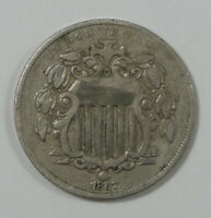 1867 SHIELD NICKEL WITHOUT RAYS  FINE 5C