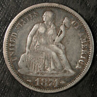 1874 P W/ARROWS SEATED LIBERTY SILVER DIME  CIRCULATED  SET FILLER 197