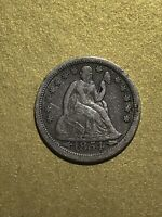 1854 SEATED LIBERTY DIME VF WITH ARROWS