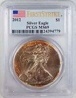 2012 SILVER EAGLE CERTIFIED FIRST STRIKE MINT STATE 69 BY PCGS GREAT OBVERSE TONING