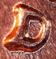 1959 D LINCOLN MEMORIAL CENT   BU   REPUNCHED MINT MARK   1MM 049  D/D TILTED