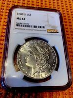 1888-S MORGAN SILVER DOLLAR NGC CERTIFIED MINT STATE 62