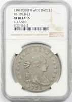 1798 POINT 9 WIDE DATE $1 NGC EXTRA FINE  DETAILS BB-105,B-23 DRAPED BUST DOLLAR