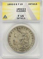 1892-S $1 ANACS F 15 DETAILS CLEANED MORGAN SILVER DOLLAR