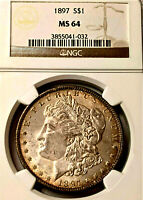 1997  MORGAN-NGC MINT STATE 64 - MIRROR REFLECTIVE VAM 6 PITTED REVERSE-