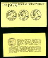 1979 UNITED STATES SUSAN B ANTHONY 3 COIN DOLLAR SET IN ENVE