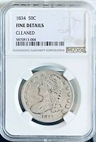 1834 CAPPED BUST HALF SILVER DOLLAR 50C NGC FINE DETAILS CLE