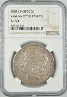 1888-S MORGAN SILVER DOLLAR NGC AU 53 HOT-50 VAM-6A PITTED REVERSE