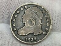 1832 CAPPED BUST DIME W/ OBVERSE MARK.  30