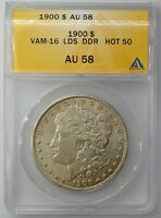 1900 MORGAN SILVER DOLLAR VAM-16 LDS PITTED EAGLE DDR  HOT 50 ANACS AU 58