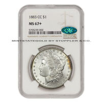 1883-CC $1 SILVER MORGAN NGC MINT STATE 67 CAC CERTIFIED CARSON CITY MINTED GEM COIN