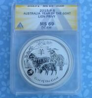 2015 ANACS MINT STATE 69 D-CAM AUSTRALIA 1 OUNCE .999 SILVER YEAR OF GOAT $1, LION PRIVY