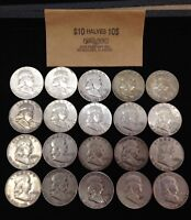 ROLL OF  20  SILVER FRANKLIN HALF DOLLARS NO  RESERVE AUCTIO