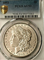 1893  MORGAN -PCGS  AU 53 ALMOST UNC   - BRIGHT AND CLEAN    LOOK