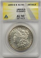 1890-S $1 ANACS AU 50 DETAILS CLEANED MORGAN SILVER DOLLAR