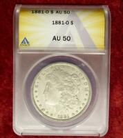 1881 O ANACS AU 50 SILVER MORGAN DOLLAR, CERTIFIED MORGAN SILVER $1 COIN