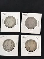 LOT OF 4 BARBER SILVER HALF DOLLARS 1899 1904 1912 D AND 191
