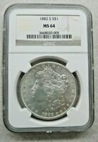 1882-S NGC MINT STATE 64 MORGAN SILVER DOLLAR.