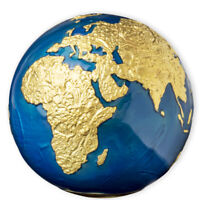 BARBADOS 2021 5$ BLUE MARBLE GOLD PLATING PLANET EARTH SPHER