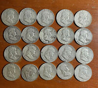 ROLL OF 20 FRANKLIN HALF DOLLARS. VARIOUS DATES. 90  SILVER.