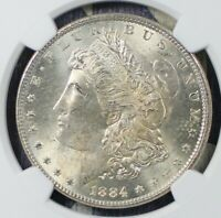 1884 MORGAN SILVER DOLLAR NGC MINT STATE 64 COLLECTOR COIN FOR COLLECTION. SHIPS FREE