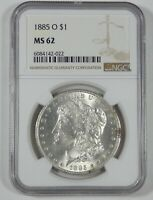 1885-O MORGAN DOLLAR CERTIFIED NGC MINT STATE 62 SILVER DOLLAR