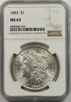 1883 $1 NGC MINT STATE 63 MORGAN SILVER DOLLAR