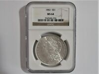 1882  P MORGAN  SILVER  DOLLAR NGC MINT STATE 64 BLAST WHITE BEAUTIFUL COIN