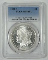 1881-S MORGAN DOLLAR CERTIFIED PCGS MINT STATE 64 PROOF-LIKE SILVER DOLLAR