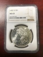 1882-S NGC MINT STATE 63 S$1 MORGAN SILVER DOLLAR COIN.