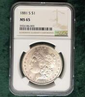 1881 S NGC MINT STATE 65 SILVER MORGAN DOLLAR, CERTIFIED GEM MINT STATE 65 MORGAN SILVER $1 COIN