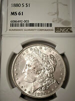 1880-S MORGAN SILVER DOLLAR NGC MINT STATE 62  BRIGHT PL REFLECTIVE