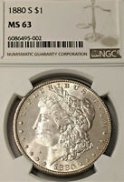 1880-S MORGAN SILVER DOLLAR NGC MINT STATE 63    REFLECTIVE PL LIKE