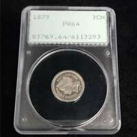 1873 US THREE 3 CENT NICKEL PIECE SILVER PCGS PR64 PROOF OGH RATTLER COIN PS3253