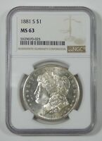 1881-S MORGAN SILVER DOLLAR CERTIFIED NGC MINT STATE 63