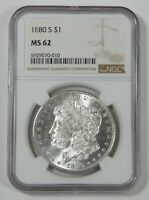 1880-S MORGAN SILVER DOLLAR CERTIFIED NGC MINT STATE 62