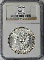 1883 $1 NGC MINT STATE 61 VAM-4 STRONG DOUBLE DATE MORGAN SILVER DOLLAR
