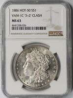 1886 MORGAN SILVER DOLLAR $1 MINT STATE 63 NGC VAM-1C 32 CLASHED HOT-50