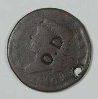 BARGAIN 1810 CLASSIC HEAD LARGE CENT GOOD 1C  HOLED & COUNTERSTAMPED