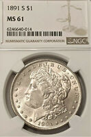 1891-S MORGAN DOLLAR NGC MINT STATE 61   FRESH BRIGHT WHITE PL  FIELDS