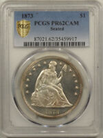 1873 PROOF SEATED LIBERTY DOLLAR - PCGS PR-62 CAM GREAT LOOK