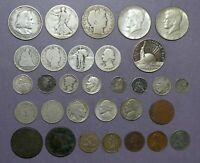 US TYPE COIN COLLECTION LOT   1/2 1 2 AND 3 CENT 1/2 DIME ET