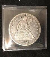 1870 SEATED LIBERTY DOLLAR WITH HOLE