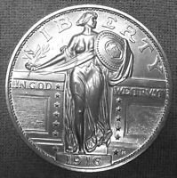 3 INCH GIANT METAL MEDALLION LIKE A 1916 BARE BREASTED STANDING LIBERTY QUARTER.