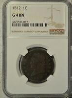 1812 CLASSIC HEAD LARGE CENT, NGC G4