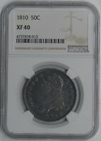1810 US CAPPED BUST 50C CENTS NGC EXTRA FINE 40 LETTERED EDGE